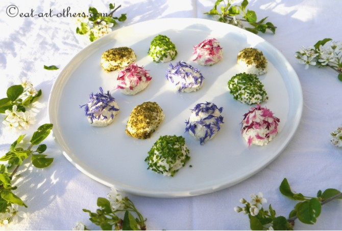 Österliche Frischkäse-Parmesan-Pralinen I